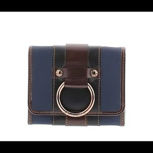 LANCEL BLUE AND BROWN LEATHER WALLET